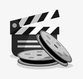 Film reel cinema and movie design. Film reel and clapboard icon. Cinema movie video film and entertainment theme. Colorful design. Vector illustration Royalty Free Stock Photos