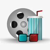 Film reel cinema and movie design. Film reel 3d glasses and soda icon. Cinema movie video film and entertainment theme. Colorful design. Vector illustration Stock Photos
