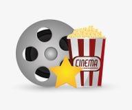 Film reel cinema and movie design. Film reel and pop corn icon. Cinema movie video film and entertainment theme. Colorful design. Vector illustration Stock Photos
