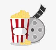 Film reel cinema and movie design. Film reel and pop corn icon. Cinema movie video film and entertainment theme. Colorful design. Vector illustration Stock Photo