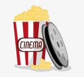 Film reel cinema and movie design. Film reel and pop corn icon. Cinema movie video film and entertainment theme. Colorful design. Vector illustration Stock Image
