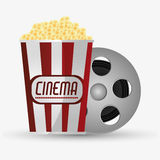 Film reel cinema and movie design. Film reel and pop corn icon. Cinema movie video film and entertainment theme. Colorful design. Vector illustration Stock Images