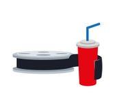 Film reel cinema movie design. Film reel soda cinema movie entertainment show icon. Flat and Isolated design. Vector illustration Stock Photos