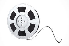 Film Reel with Cinema Tape. 3d Rendering. Film Reel with Cinema Tape on a white background. 3d Rendering Stock Image
