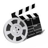 Film Reel with Cinema Tape near Clapboard. 3d Rendering. Film Reel with Cinema Tape near Clapboard on a white background. 3d Rendering Royalty Free Stock Images