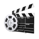Film Reel with Cinema Tape near Clapboard. 3d Rendering. Film Reel with Cinema Tape near Clapboard on a white background. 3d Rendering Stock Photo