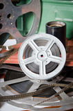 Film reel cinematography closeup. Film reel cinematography with cinema accessories closeup stock images