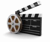 Film Reel and Clapboard Stock Photo