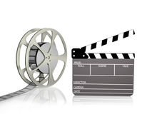 Film Reel with Clapper. Board isolated on white Royalty Free Stock Image