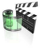 Film reel and clapper. Flapper behind a transparent film Stock Photography