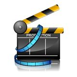 Film Reel with Clapper Board. Illustration of film reel with clapper board on cinema background Stock Image
