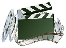 Film reel and clapper board background. An illustration of a film reel and clapper board with copyspace on the board stock illustration