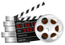Film reel and clapper board Stock Photography