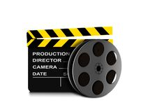 Film reel and clapper board icon. On white Royalty Free Stock Photography