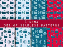 Film reel and clapper board. Set of seamless patterns. The patte. Film reel and clapper board. Set of seamless patterns. Abstract vector backgrounds Stock Photos