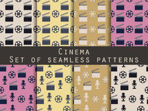 Film reel and clapper board. Set of seamless patterns. The patte Royalty Free Stock Photography