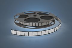Film reel closeup. 3d isolated illustration on blue background Stock Photography
