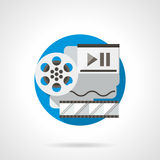 Film reel color detailed icon. Reel of film, filmstrip and player. Multimedia technology concept. Cinema production and playback, virtual movie gallery. Round Royalty Free Stock Images
