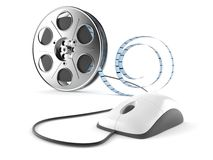 Film reel with computer mouse. Isolated on white background Royalty Free Stock Photography
