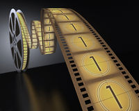 Film Reel Countdown. Countdown with the number 1 on the film strip Royalty Free Stock Images
