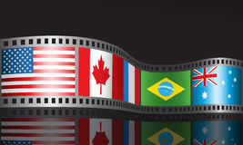 Film reel. With different flags Royalty Free Stock Photo
