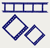Film reel. Doodle style. Vector sketch Royalty Free Stock Photos