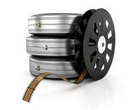 Film reel and film cases. On white background. 3d rendered image Stock Photo