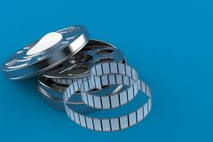 Film reel. Isolated on blue background. 3d illustration Stock Photos