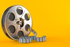 Film reel. Isolated on orange background vector illustration