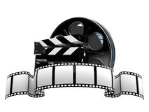 Film reel with film strip. Isolated on white background royalty free illustration