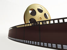 Film reel with a film strip. On the withe background Royalty Free Stock Photography