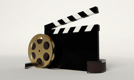 Film reel with a film strip. On the withe background royalty free illustration
