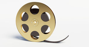 Film reel with a film strip. On the withe background stock illustration