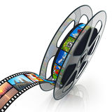 Film reel with filmstrip. With colorful pictures isolated on white background with reflection effect royalty free illustration