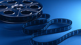Film reel with filmstrip. 3d render vector illustration