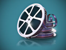 Film reel. With filmstrip retro stock illustration