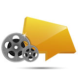 Film reel and frame. Film reel and banner on white background Royalty Free Stock Image