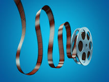 Film reel. With frames on blue background stock illustration