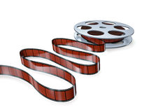 Film reel. With frames on blue background Stock Photography