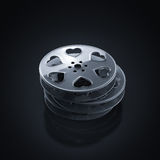 Film reel with hearts. Stack of film reels with hearts Royalty Free Stock Images