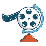 Film reel icon, cartoon style. Film reel icon. Cartoon illustration of film reel vector icon for web Stock Image