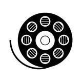 Film reel icon. Silhouette of movie film reel icon over white background. cinema design. vector illustration Stock Photography