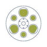 Film reel icon. Thin line design. Vector illustration stock illustration
