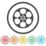 Film reel icon. Vector icon stock illustration