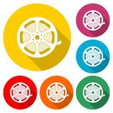 Film reel icon, The video icon, color icon with long shadow. Simple vector icon Royalty Free Stock Photography