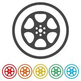Film reel icon, The video icon, Movie symbol, Flat, 6 Colors Included. Simple vector icons set Stock Image