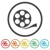 Film reel icon, The video icon, Movie symbol, Flat, 6 Colors Included. Simple vector icons set Stock Photos