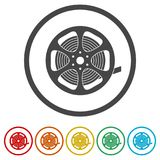 Film reel icon, The video icon, Movie symbol, Flat, 6 Colors Included. Simple  icons set Stock Photo