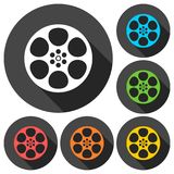 Film reel icons set with long shadow. Film reel icon, simple vector icon Royalty Free Stock Photo