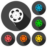 Film reel icons set with long shadow. Simple vector icon Stock Photo
